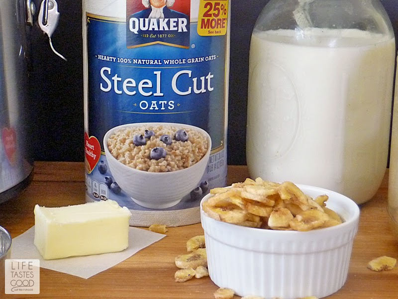 Overnight Steel Cut Oatmeal | by Life Tastes Good is a delicious way to the start the day. The bananas, cinnamon, and walnuts give this oatmeal lots of flavor, and as an added bonus, you wake up to the warm comforting aroma of banana bread as you sit down to enjoy this hearty breakfast! #MyOatsCreation #spon