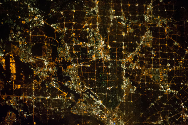 Satellite photo of Dallas as seen from space