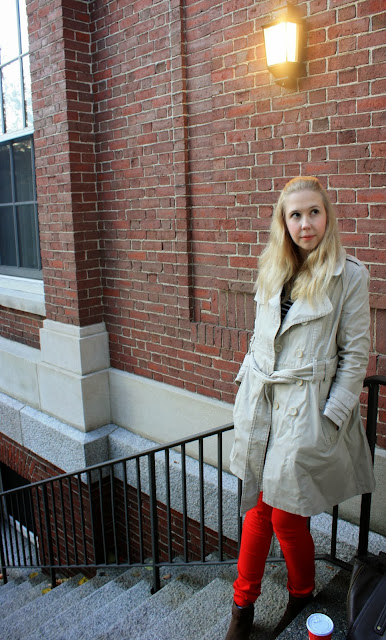 Harvard Square Red Jeans DKNY trench