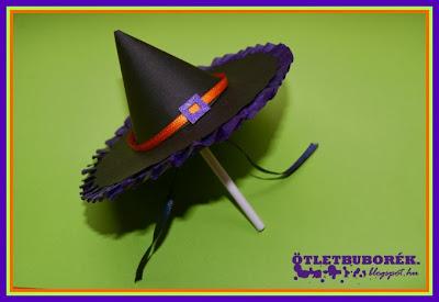 Boszorkánykalap formájú csomagolás, Halloween, boszorkánykalap, diy witch hat