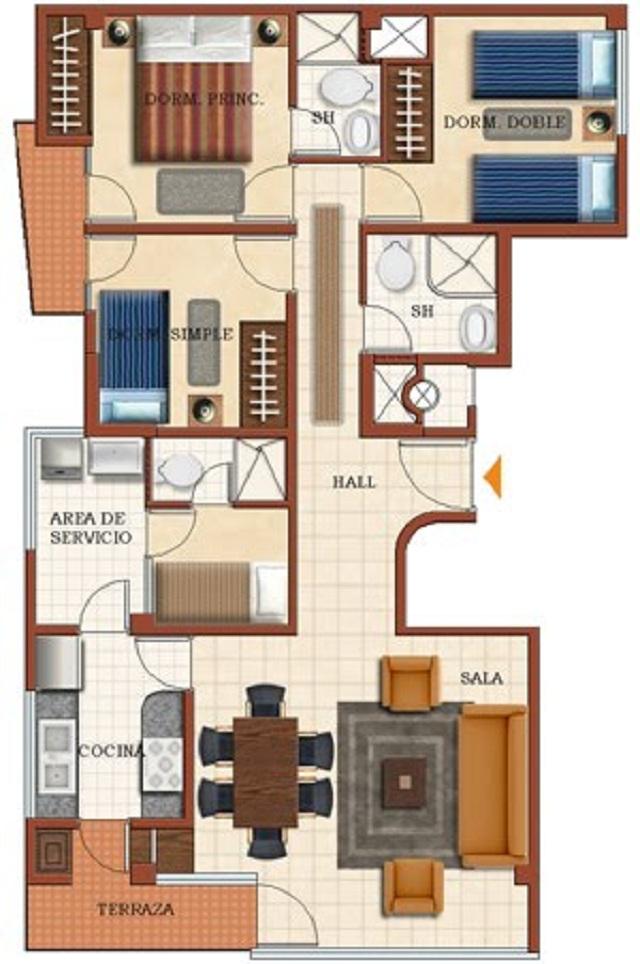 Plano de casa de una planta con 4 dormitorios planos de for Plano casa una planta