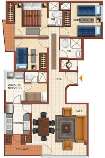 Plano de casa de una planta con 4 dormitorios planos for Planos de casas en linea
