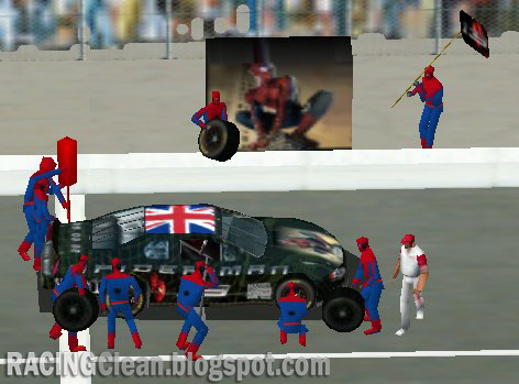 My Spider-Man pitcrew get to work on my Spider-Man Painted NASCAR from a NASCAR Racing 2002 League Race