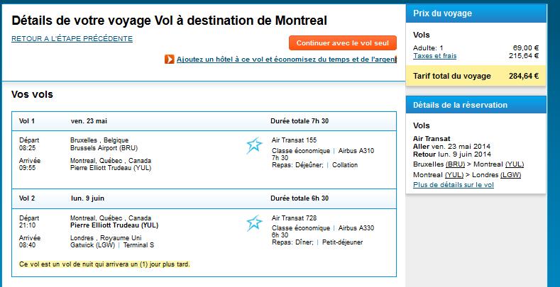 Vol pas cher Montréal