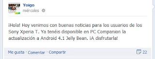 actualizacion sony xperia t android 4.1 yoigo jelly bean