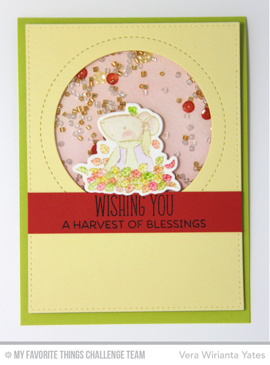 Fall Mouse Shaker Card by Vera Wirianta Yates featuring the Birdie Brown Harvest Mouse stamp set and Die-namics and the Lisa Johnson Designs Jumbo Peek-a-Boo Circle Windows Die-namics #mftstamps