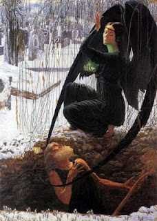 The Death of the Gravedigger by Carlos Schwabe - Angel of Death depicted as a beautiful woman