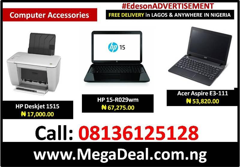 Buy HP Deskjet Printer 1515₦ 17,000, HP 15-R029wm Laptop ₦ 67,27, Acer Laptop  Aspire E3-111₦ 53,82