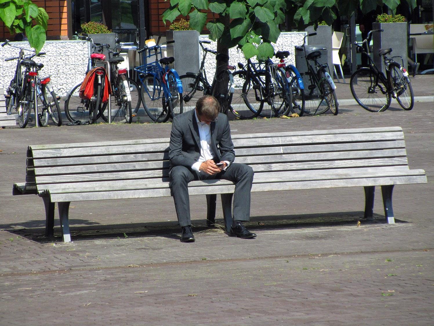 single man on bench