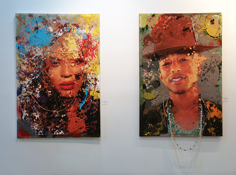 Yonce & Happy by Julie Mimran, Beyonce and Pharrell Williams portraits at Lulu Laboratorium art gallery in Wynwood, Miami, MBAB2014, Art Basel