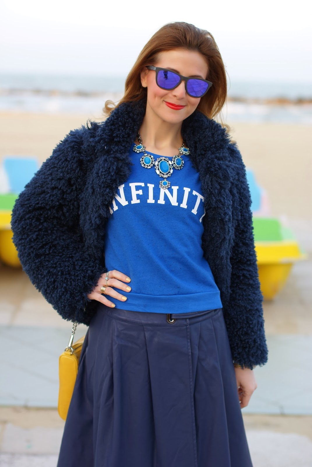 So Allure faux fur jacket, Zara statement necklace, Infinity sweatshirt, Fashion and Cookies, fashion blogger