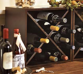 Amazing grays diy over fridge wine rack for Pottery barn wine rack wood