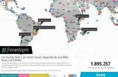 #freeandopen: mapa de Google Maps con las peticiones por una internet libre