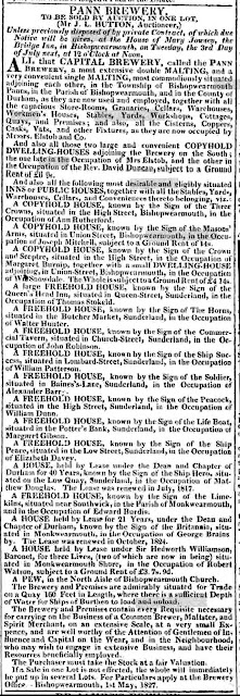 A very long advertisment for the sale by auction of John Elstob's estate - including the brewery, two dwelling houses and fifteen pubs