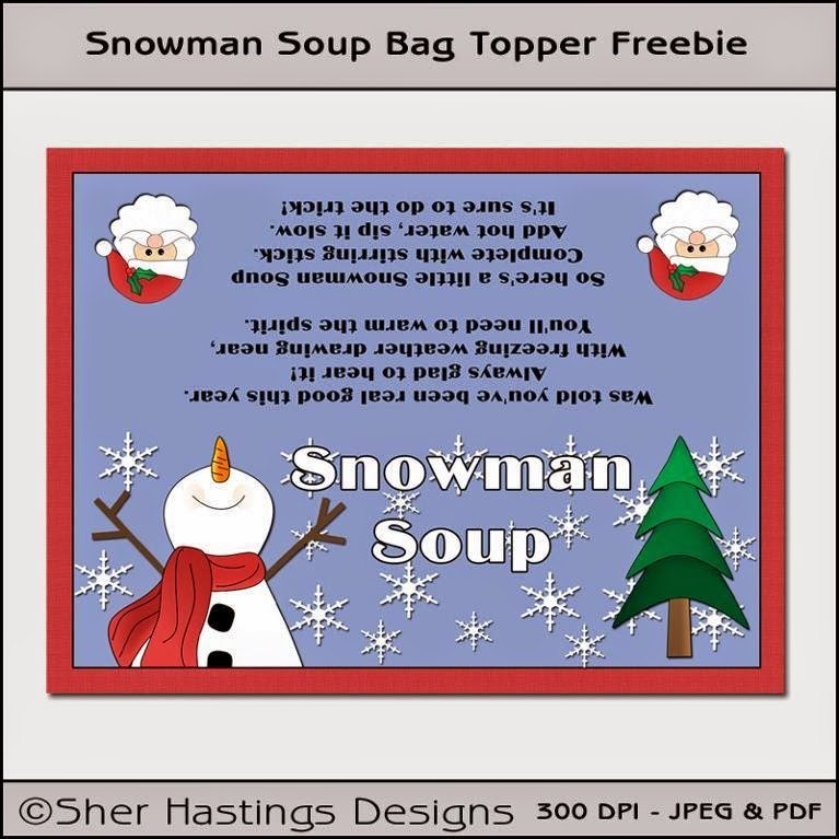 Freebie -Free Printable -Snowman Soup Bag Topper on Craftsy