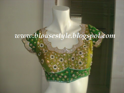 green designer front neck blouse