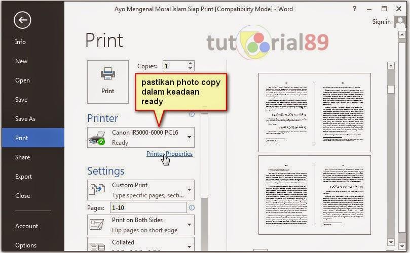 Cara mudah print bolak balik di photo copy canon IR5000