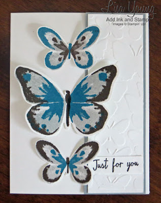 Butterfly card made with Stampin' Up! Watercolor Wings stamp set. Blue, gray, brown butterflies. Handmade card by Lisa Young, Add Ink and Stamp