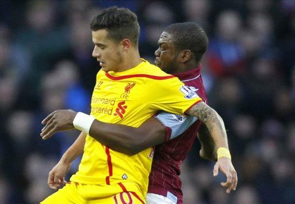 Hasil pertandingan Liga Inggris 2015 Aston Villa vs Liverpool The Reds bawa pulang tiga poin