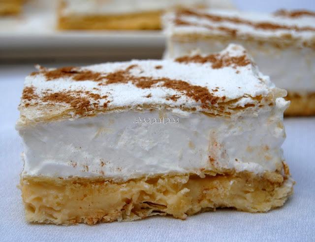 Milhojas de crema pastelera y merengue asopaipas for Recetas cocina casera