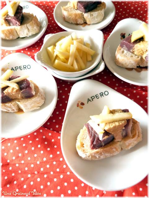 Amuse bouche magret de canard foie gras pommes une for Amuse bouche foie gras aperitif