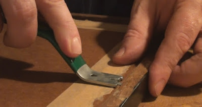 Demonstrating a Fletcher Pushmate picture framing tool