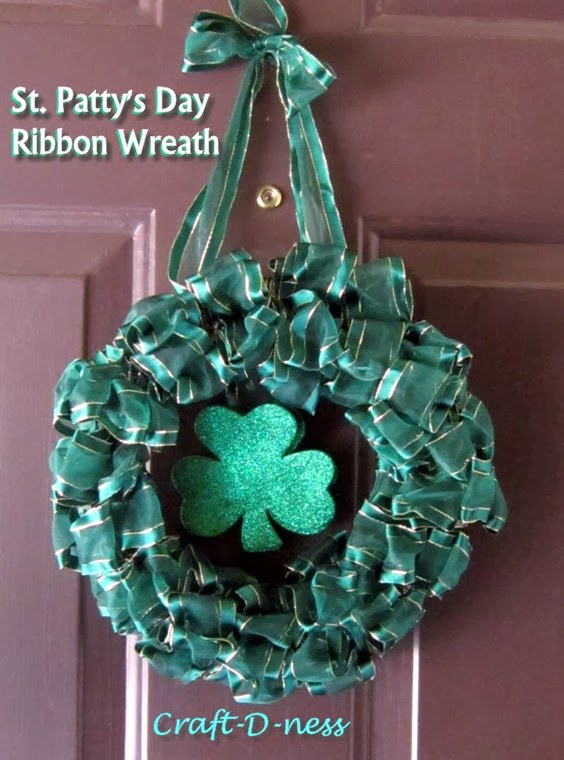 St. Patty's Day Ribbon Wreath featuring the Shamrock