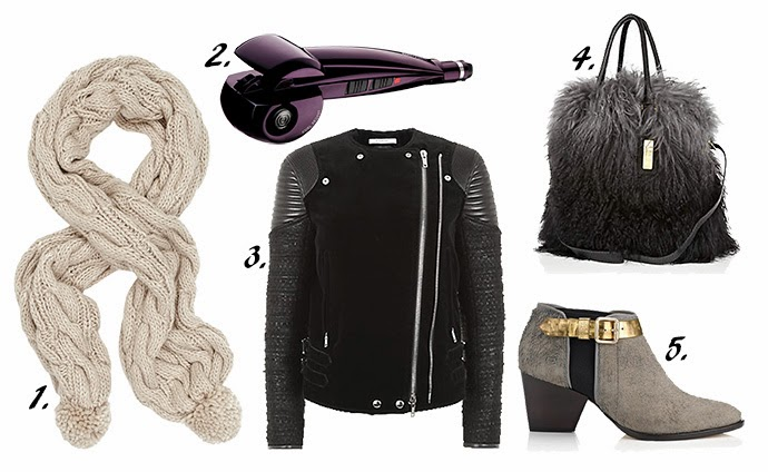 Wish list featuring Candy Cable Knit Scarf, Babyliss Curl Secret Hair curler, Givenchy biker jacket, River Island Fur tore and Zoe Leek Grey Ankle Boots