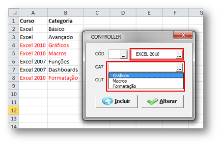 Tabela, Excel
