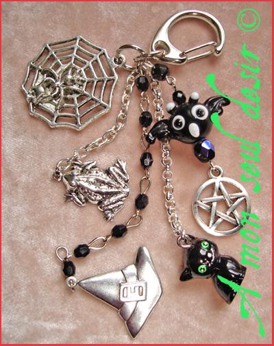 Bijou de Sac Sorcière Wicca Gothique Gothic Goth Chauve Souris Chat Noir