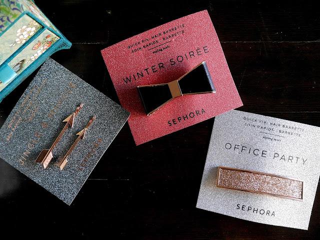 sephora collection quick fix hair barrettes office party, jingle and mingle, winter soiree