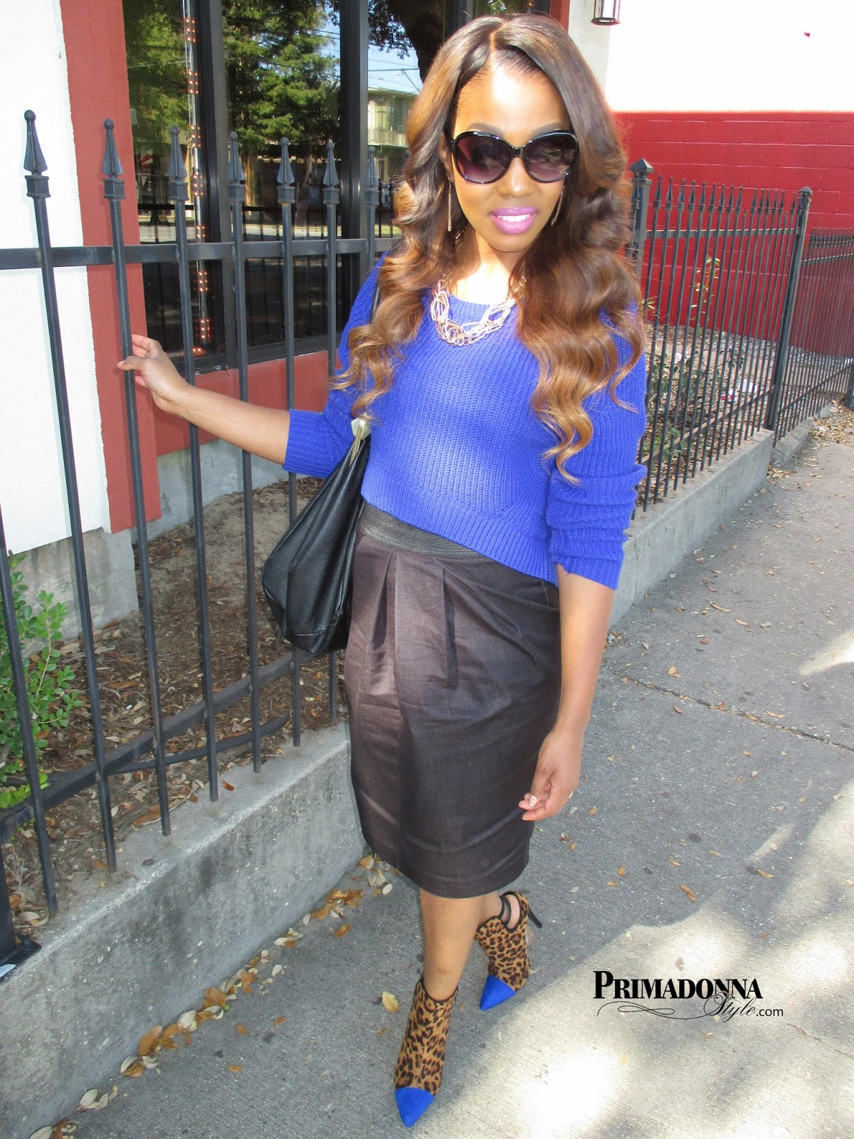 how to wear what to wear with a blue crop high low sweater draped pleated high waist pencil skirt shoedazzle brandi leopard animal print cobalt royal blue ankle bootie boots