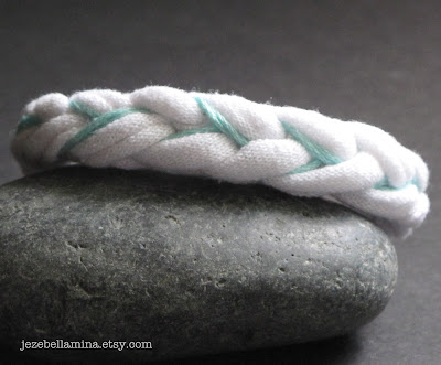 Mint Aqua Blue and White Upcycled Jersey Knit Fabric Woven Bracelet by Jezebellamina on Etsy
