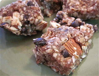 almond date chocolate chip squares with lucuma and maca powders