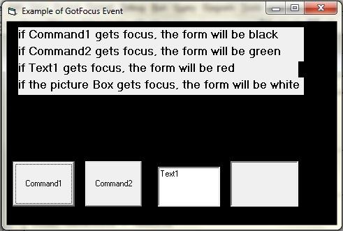 example program of GotFocus event