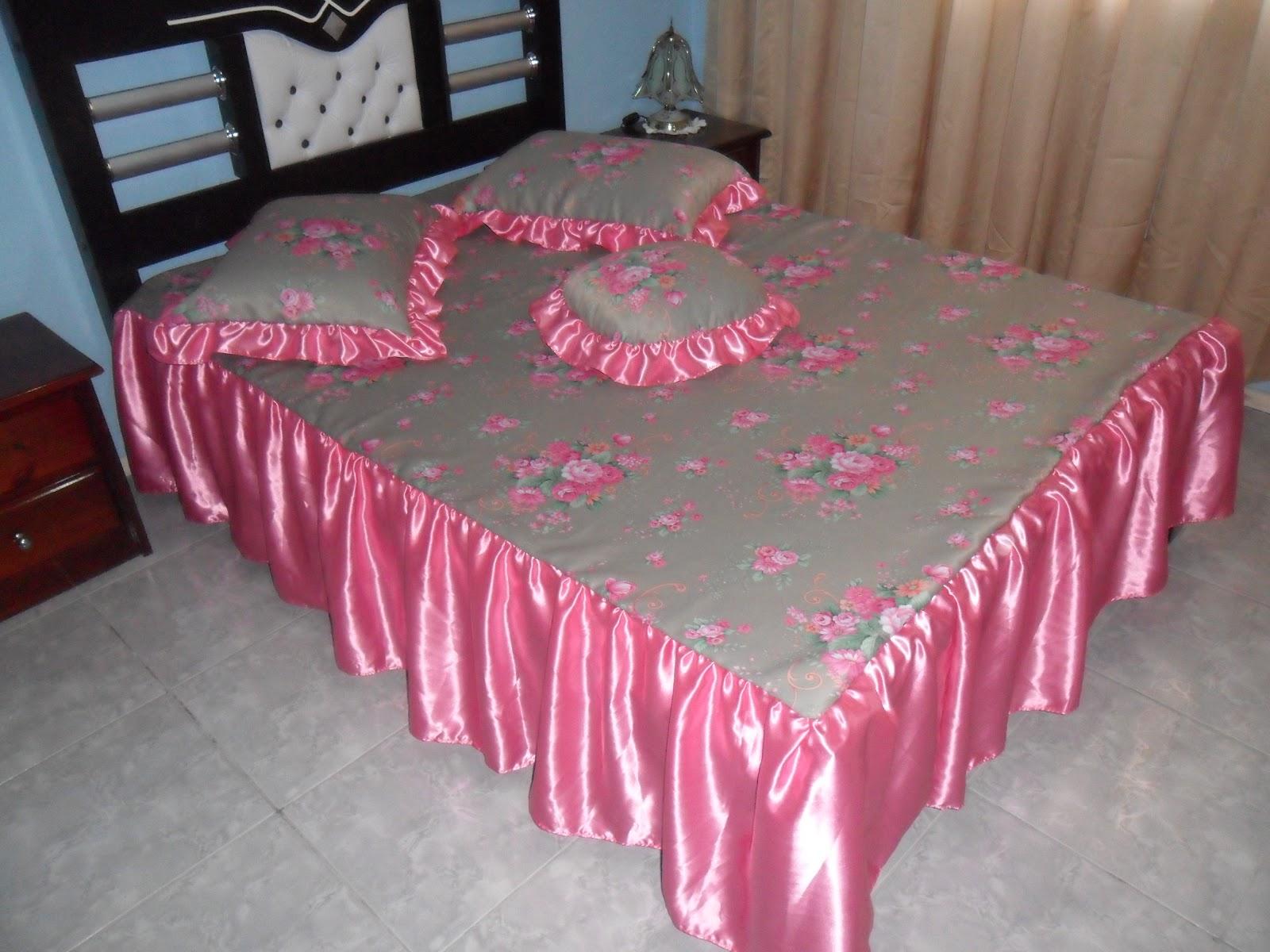 Arte e atelier conjunto de colcha cama casal rosa - Imagenes de colchas para camas ...