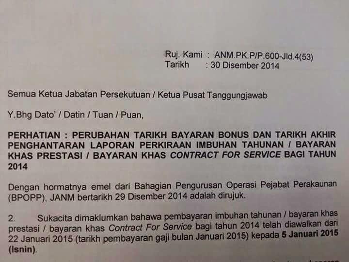Kecewa Bonus Kakitangan Awam Januari 2015 Tunda