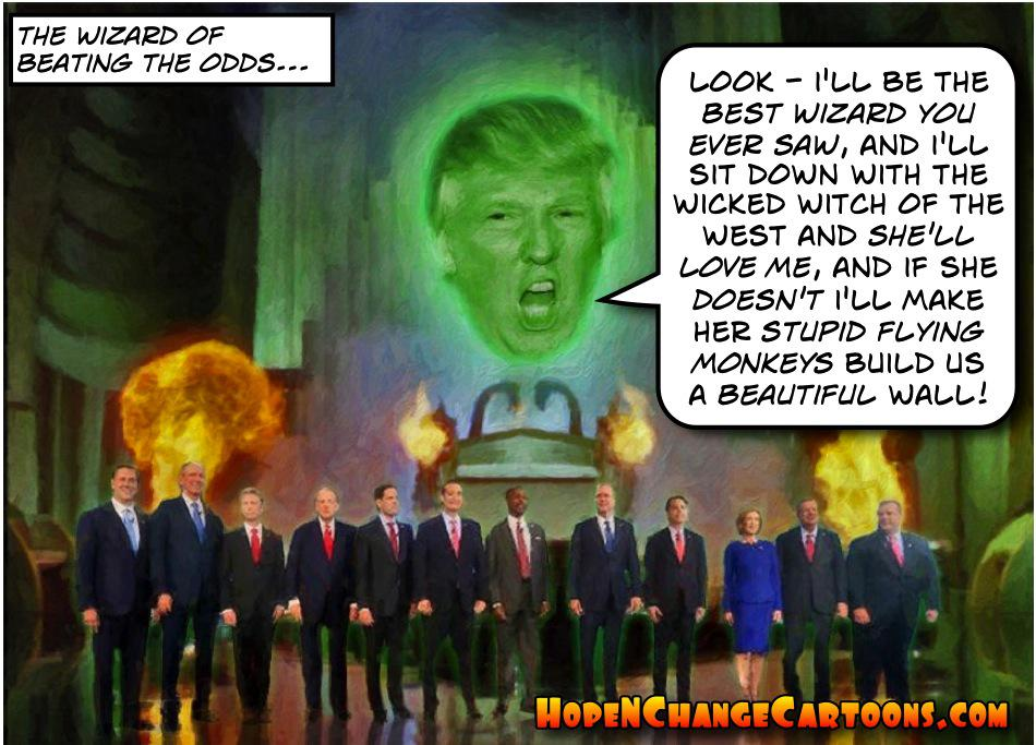 Image result for Trump The wizard of beating the odds cartoon