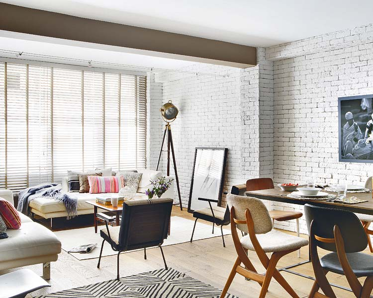 Living Room Painted White Brick Wall
