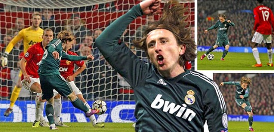 Luka Modric at Old Trafford with Real Madrid green jersey