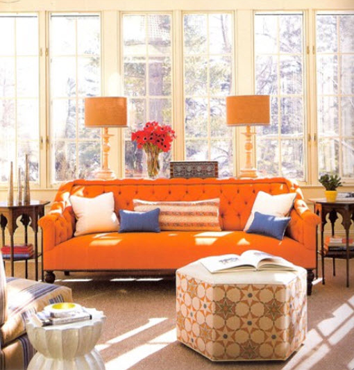 pomarańczowe meble