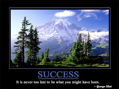 Success  It is never too late to be what you might have been.