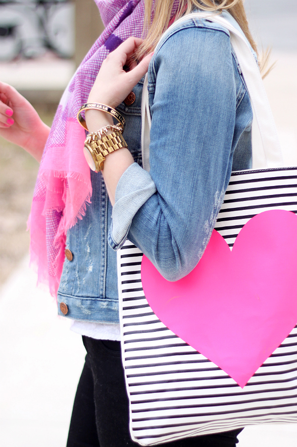 Ban.do Heart Tote, Black and White Striped Tote, Michael Kors Gold Watch, Kate Spade Bangle