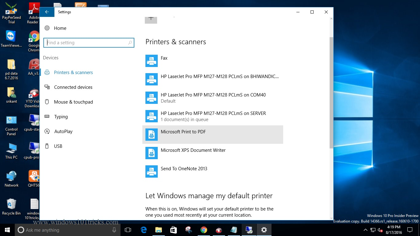 how to change default printer settings in windows 10