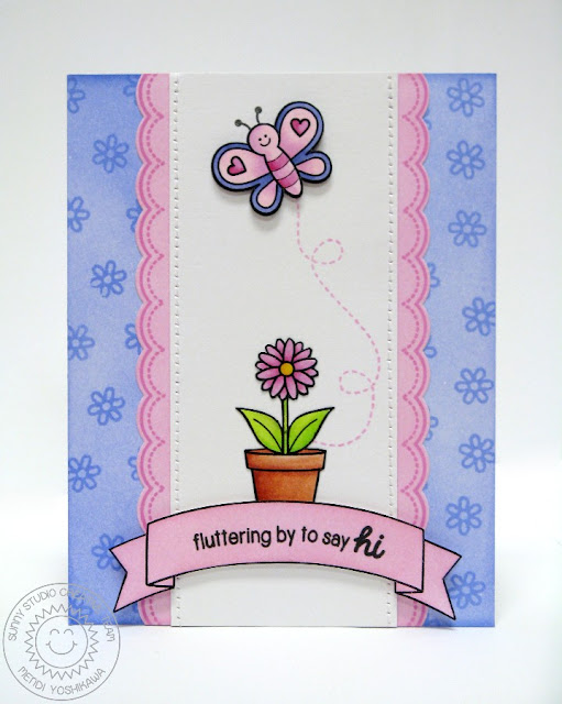 Sunny Studio Stamps Butterfly Card (using Backyard Bugs & Sunny Borders stamp sets)