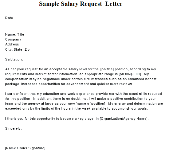letter for salary Template – Salary Increase Letters