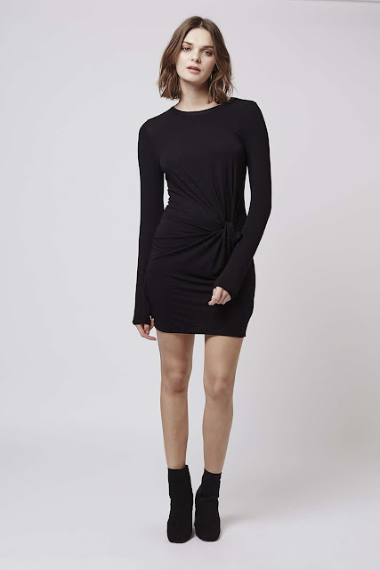 black knot front dress, topshop long sleeve black dress,