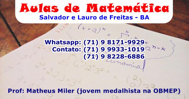 Matheus Miler - Aulas Especializadas de Matemática e Física