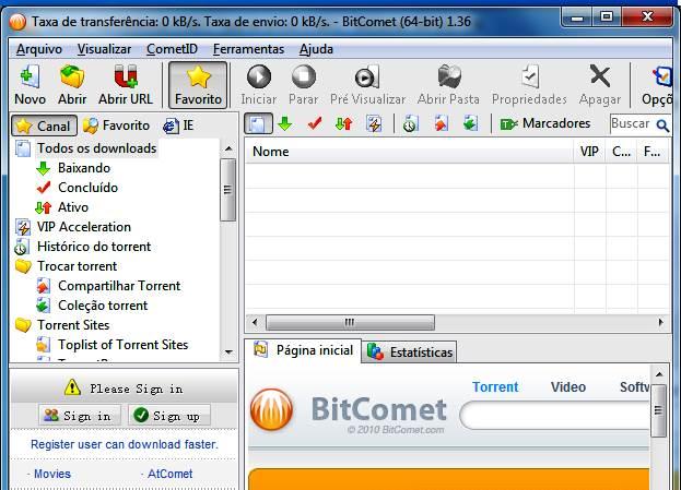 Interface do BitComet