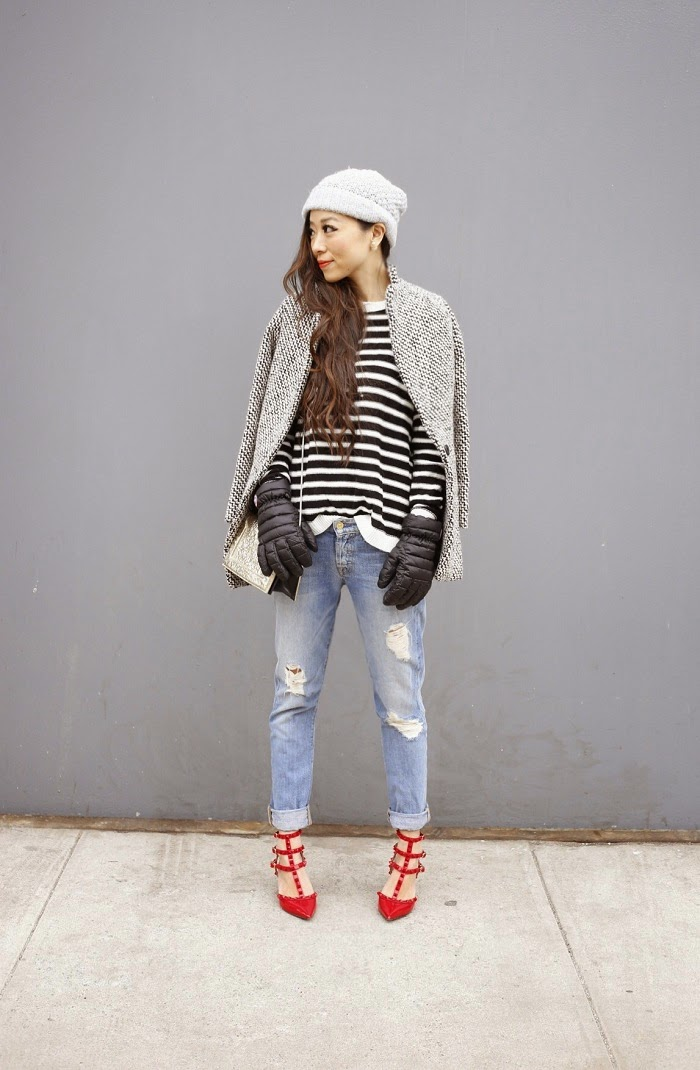 Asos stripe sweater with heart elbow patch, stripe sweater, elbow patch, river island beanie, canada goose gloves, baublebar 360 pearl studs, 7fam boyfriend jeans, valentino rockstuds heels, 31phillip lim shoulder bag, cute outfit ideas, fashion blog, NYFW, sheinside coat